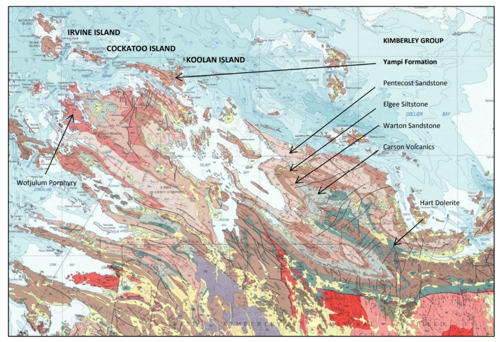 Regional Geology showing part of the Yampi regional geological map including Cockatoo Island relative to the folded Kimberley Group geological units.